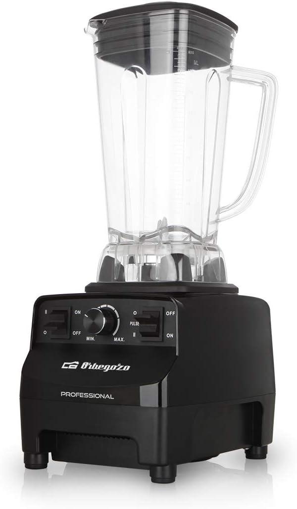 Orbegozo BV 9650 - Batidora de vaso profesional, motor AC de cobre de alto rendimiento, vaso 2L de tritán libre de BPA, 30.000 RPM, 1500 W, regulador electrónico de potencia, cuchilla INOX de 8 puntas