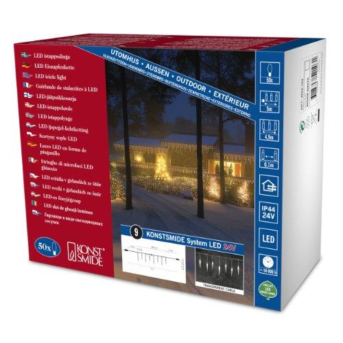 Konstsmide 4652-103 LED Hightech System Erweiterung / Lichtervorhang Eiszapfen / für Außen (IP44) / VDE geprüft / 50 warm weiße Dioden / transparentes Kabel
