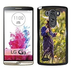 LG G3 Case,Lovely Little Girl and Flower For LG G3 Black Case Cover