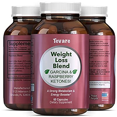 Best Weight Loss Pills for Men & Women - Pure Garcinia Cambogia Green Coffee Bean Raspberry Ketones and Natural Green Tea - Burn Belly Fat Boost Energy Suppress Appetite Boost Metabolism - Tevare
