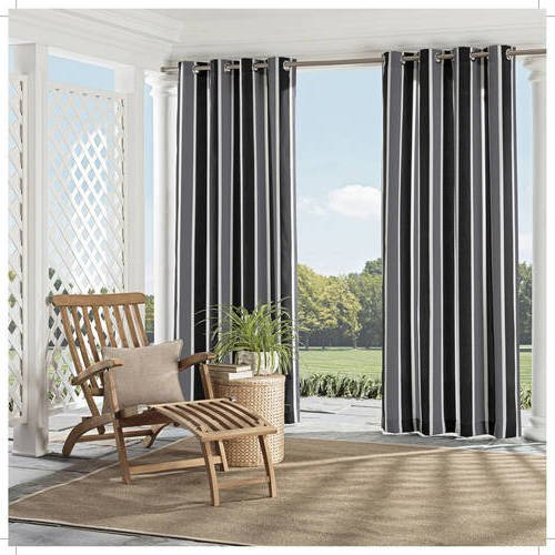 Ln 1 Piece Black Nautical Gazebo Curtain Panel 95 Inch, Gray Cabana Stripe Outdoor Curtain Light Blocking Patio Porch, Fade Resistant Indoor/outdoor Drape Pergola Garden Sunroom Grommet, Polyester