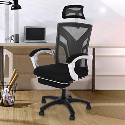 【US in Stock 7 Days Delivery】 Computer Chair Gaming Chair Racing Style Office Chair Adjustable Swivel Rocker Recliner High Back Ergonomic Computer Desk Chair with Footrest (1pc, Black) 51K7z50h0 L