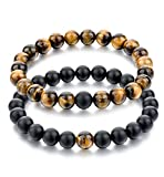 Long Way 2 pcs Black Matte Agate & Tiger Eye Gem Beads 8mm Double Matching Distance Bracelets 7.5''Z & 7.9''