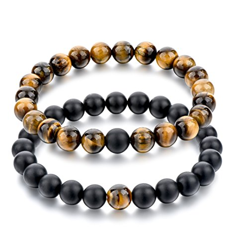 (Long Way 2 pcs Black Matte Agate & Tiger Eye Gem Beads 8mm Double Matching Distance Bracelets 7.5