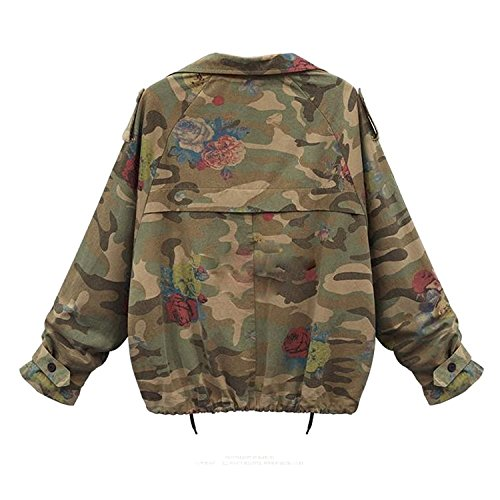 Di Militare Giacca Minetom Denim Autunno Camouflage Cappotti Donne Inverno Giacche Verde Coats Moda Jeans XF0gq
