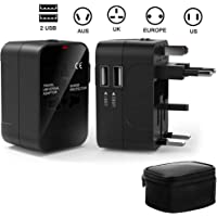 Travel adaptor, WQQ Universal Power Adapter with UK/USA/EU/AUS Worldwide Travel Plug, 2 USB Charging Ports International Wall Adapter for Apple, iPhone, iPad, Samsung, Huawei, Android Phones, Tablets and More –Black