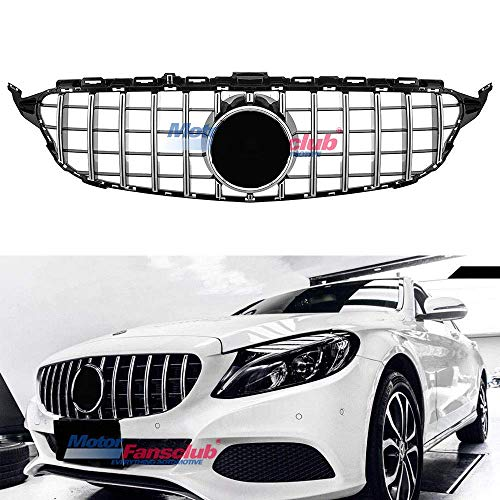 Amg C-class (MOTORFANSCLUB Hood Grille Front Grill Fits for Mercedes Benz C Class C200 C250 C300 C350 W205 2015-2018 AMG GT R Style Grill W/Camera Chrome (With Camera Hole) (Silver))