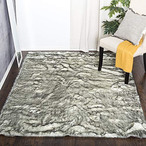 Home Must Haves Grey Super Soft Shaggy Shag Faux Sheepskin Area Rug 5 x 8