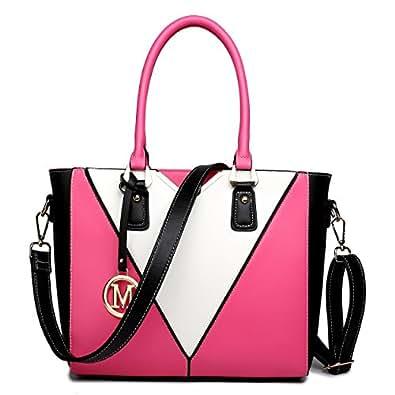 Miss Lulu Women's Leather Look V-Shape Shoulder Handbag Large Plum