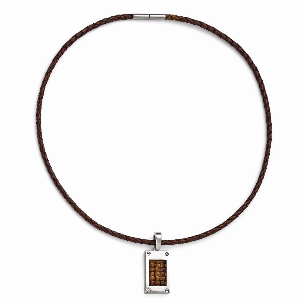 Jewel Tie Titanium with Brown Leather Insert /& Leather Cord Polished Ne