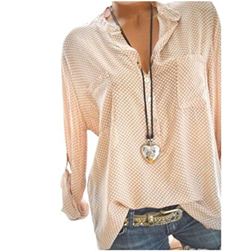 vermers Clearance Women Long Sleeve T Shirt - Women Casual V-Neck Wave Point Printing Plus Size Tops Loose Blouse