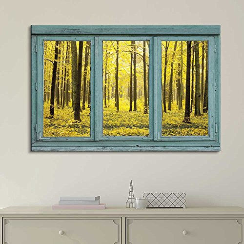 Vintage Teal Window Looking Out Into a Yellow Forest