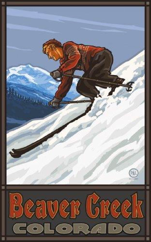 Northwest Art Mall Beaver Creek Colorado Downhill Skier Man Artwork by Paul A Lanquist, 11-Inch by - Mall Beaver Creek