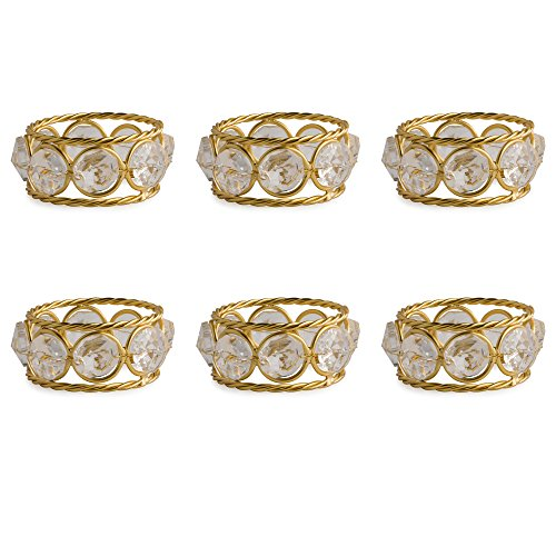 DII Modern Chic Napkin Rings Made of Twisted Wire and Crystals for Dinner Parties, Weddings Receptions, Family Gatherings, or Everyday Use, Set Your Table With Style - Gold (Crystal Family Ring)