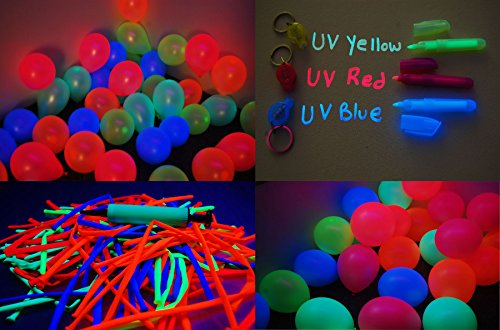 DirectGlow 200 Piece Assorted Blacklight Reactive Latex Balloon Party -