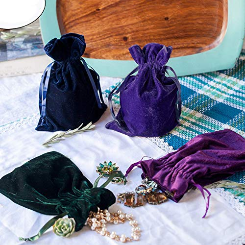 (Huji Luxurious Cloth Velvet Soft Tarot Magic Drawstring Bags Jewelry Pouch Bags Tarot Card Size Dice Bags Bundle of 4: Moss Green, Navy Blue, Purple, and Indigo 6