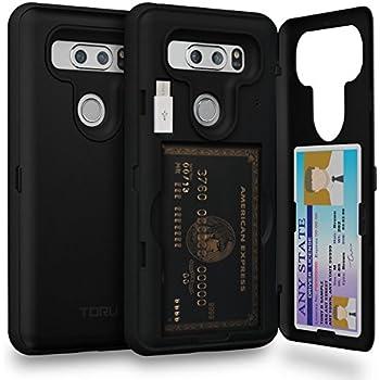 LG V30 Case, TORU [Slim Hard Wallet Case Black] Dual Layer Hidden Credit Card Holder ID Slot Card Case with Mirror and USB Adapter for LG V30 (2017) - Matte Black