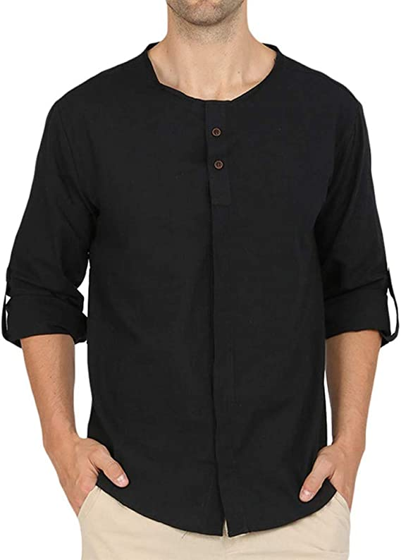 Giulot Mens Casual Loose-Fit Henley Shirt Classic Basic Solid Force Cotton Delmont Hoodies Breathable Active Tee