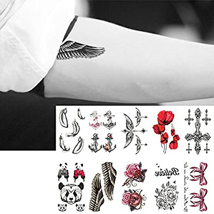Oottati 10 Hojas Pequeñas Cute Dedo Tatuajes Temporales Feather ...