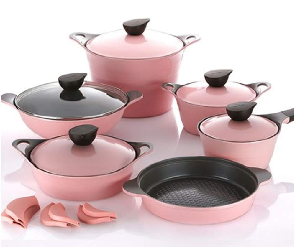 Neoflam EELA Cast aluminum 6 pcs Chef's Stockpot & Wok & Multigrill Premium Set with Lid (Romantic Pink))