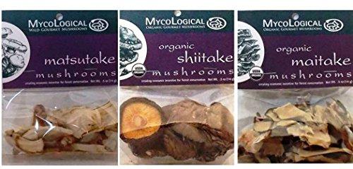Mycological Organic And Wild Gourmet Dried Mushroom 3 Variety Bundle: (1) Organic Shitake Mushrooms, (1) Wild Gourmet Matsutake Mushrooms, and (1) Organic Maitake Mushrooms, .5 Oz. Ea.