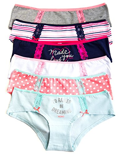 XOXO Juniors 3 or 6 Pack Cotton Hipster Panties with Lace Hip Details and Fun Patterns (Large, 6 Pack:Navy/Dots)
