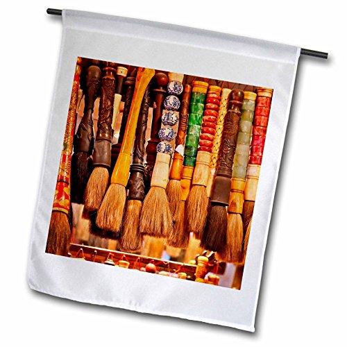 3dRose Danita Delimont - Markets - Chinese Colorful Souvenir Ink Brushes, Beijing, China - 18 x 27 inch Garden Flag (fl_257102_2)