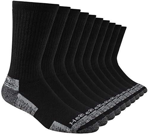 Heatuff Mens 10 Pack Crew Athletic Work Socks, Full Cushion Moisture Wicking Sock With Reinforced Heel & Toe
