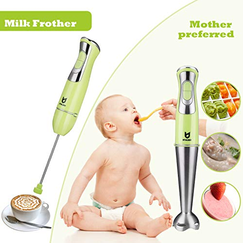 Immersion Hand Blender, Utalent 3-in-1 8-Speed Stick Blender with Milk Frother, Egg Whisk for Coffee Milk Foam, Puree Baby Food, Smoothies, Sauces and Soups - Green