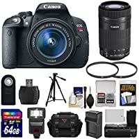 Canon EOS Rebel T5i Digital SLR Camera & EF-S 18-55mm & 55-250mm IS STM Lens with 64GB Card + Battery + Case + Flash + Grip + Tripod Kit Basic Intro Review Image