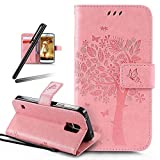 Galaxy S5 Stand Case,Samsung Galaxy S5 Wallet Case,Galaxy S5 PU Leather Case,SKYMARS Cat Tree Embossed PU Leather Flip Kickstand Cards Slot Cash Pockets Wallet Magnetic Closure Book Style Case for Samsung Galaxy S5 Tree Pink