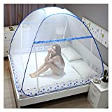 Folding Mosquito Net, Upgraded Heightening Widening Version Luxury Yurt Pop Up Encryption Double Door Anti-Mosquito with Bottom Lace Tent, Portable Netting,Blue,King180x200cm