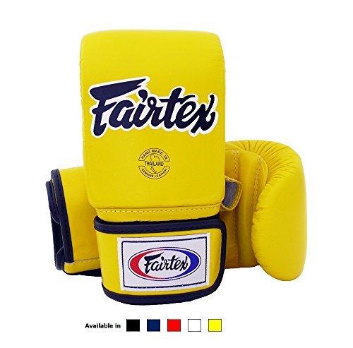 Fairtex Muay Thai Bag gloves TGO3 - Super Sparring Bag Gloves - Open Thumb - Yellow , Medium