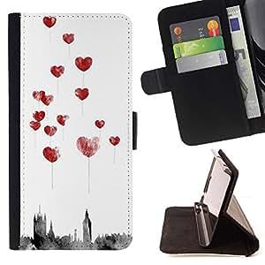 LOVE WATERCOLOR BALLOONS HEART CITY/ Personalizada del estilo del dise???¡Ào de la PU Caso de encargo del cuero del tir????n del soporte d - Cao - For Apple Iphone 4 / 4S