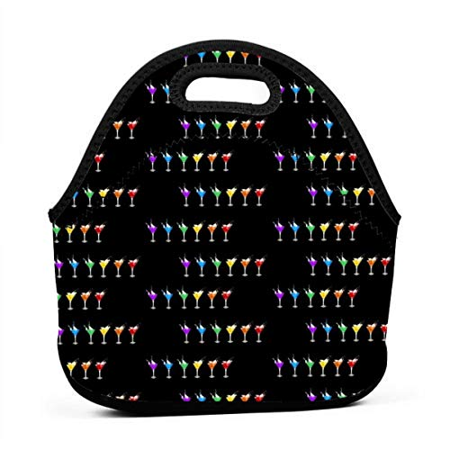 AGRBLUEN Women Men Kids Reusable Neoprene Insulated Martini Evening Bento Pouch Durable Keep Cooler and Warm Portable Lunch Tote Bag Insulated Lunch Bag