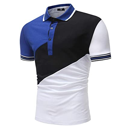 Clearance Lightning Sale Men's Tops,ZYooh Men's Polo Tee Shirt Button Turndown Collar Blouse Casual Patchwork Tshirt (Black, M)