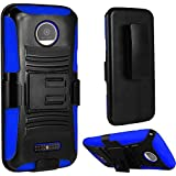 Motorola Moto Z Force Droid case ( Verizon ), Luckiefind Hybrid Armor Stand Case with Holster and Locking Belt Clip with Stylus Pen Accessory (Holster Blue)