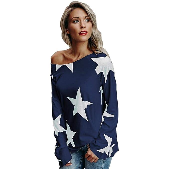 JiaMeng Camisas Mujer, Camisetas Mujer de Manga Larga de Sudadera sin Tirantes de la Estrella