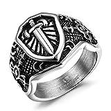 Lanroque Men's Stainless Steel Vintage Sword Shield Ring Size 9
