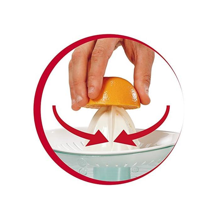 51K8 qgkPKL Exprimidor con doble filtro extraíble: para regular el nivel de pulpa, hasta 100% sin pulpa con el filtro de metal El cono de rotación en 2 sentidos se pone en marcha al apretar sobre él, ofreciendo una mayor cantidad de zumo Jarra transparente y desmontable con capacidad de 0.6 L
