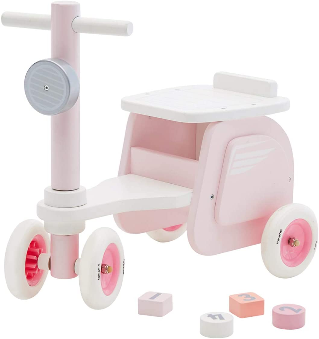 labebe Walk & Ride on Baby Balance Bikes, Push & Pull Baby Walker Toy, Foot to Floor Pink Motor Car No Pedal 4 Wheels for Toddler 18 Months UP, First Birthday New Year Gift