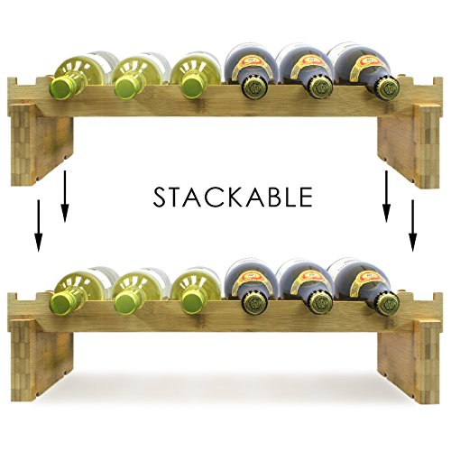 Sorbus 2-Tier Stackable Bamboo Wine Rack— Classic Style Wine Racks for Bottles— Perfect for Bar, Wine Cellar, Basement, Cabinet, Pantry, etc.—Holds 12 Bottles (2-Tier, Natural) by Sorbus (Image #6)