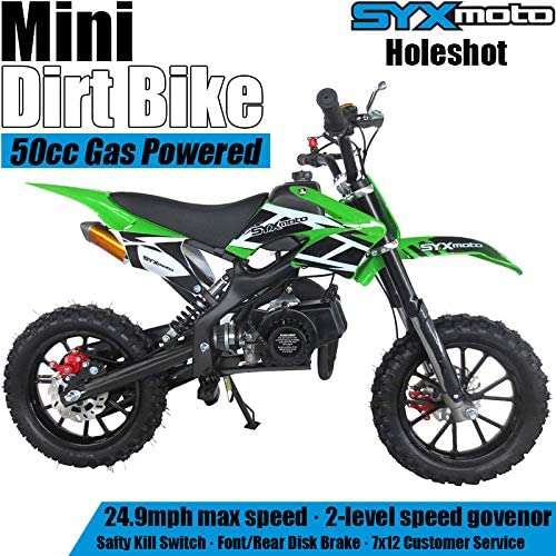 SYX MOTO Kids Mini Dirt Bike Gas Power 2-Stroke 50cc Motorcycle Holeshot Off Road Motorcycle Holeshot Pit Bike Fully Automatic Transmission Green