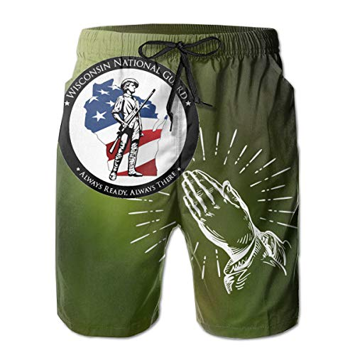 (Men Swim Trunks Quick Dry Board Shorts Wisconsin National Guard Members Supporting-Praying Hands White)
