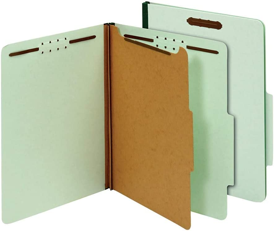 10 pk Letter Size Office Depot 100/% Recycled Classification Folders 1 3//4in Expansion OD23776R 1 Divider Light Green