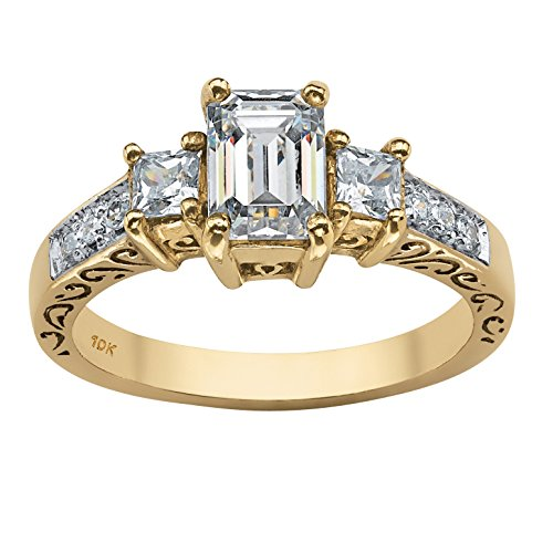 Emerald-Cut White Cubic Zirconia 10k Yellow Gold Scroll Ring - 10k Gold Scroll Ring