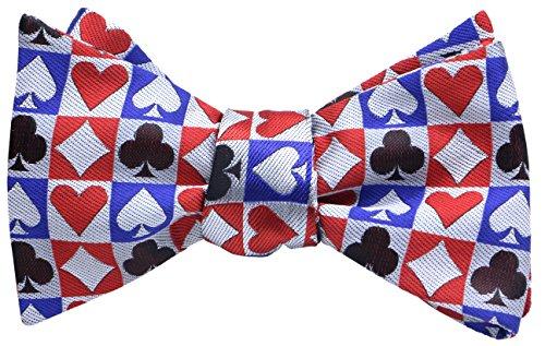 (OCIA Mens Designer Self Bow Tie Pattern Woven Bowtie Poker Card Suit)