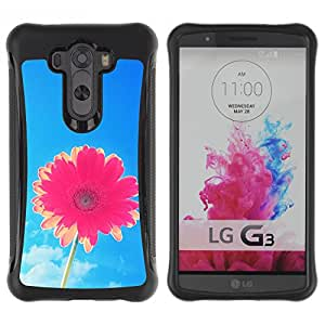 WAWU Rugged Armor Slim Protection Case Cover Shell -- aster flower blue skies pink summer sun -- LG G3