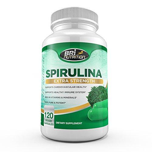Les mieux notés spiruline - 2000mg supplément de force maximale - 30 Day Supply - 120 Veggie Capsules de BRI Nutrition