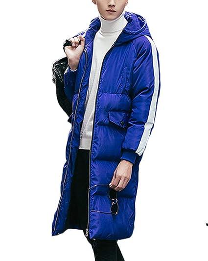 Yonglan Unisexo Largo Abajo Chaqueta con Capucha Mujer Hombre Invierno Acolchada Cazadora Plumas Abrigo Parka Azul
